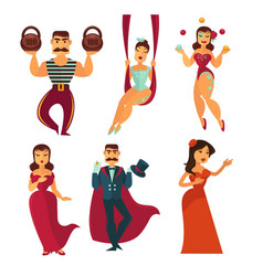 Circus show artists and singers men and women vector