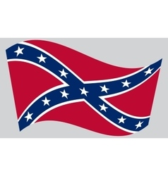 Confederate rebel flag waving on gray background vector