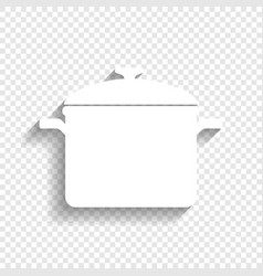 cooking pan sign white icon with soft vector image