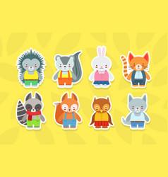 cute baanimals stickers collection hedgehog vector image