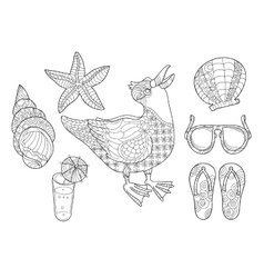 Cute little seagull black and white vector image