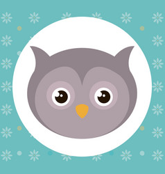 cute owl head tender character vector image