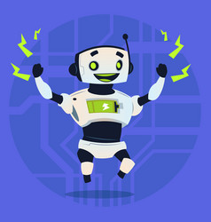 Cute robot happy smiling full battery charge vector