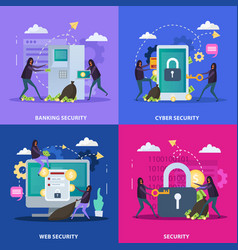 Cyber security flat design concept vector
