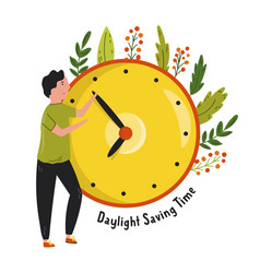 Daylight saving time abstract design with a man vector