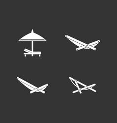 Deckchair icon set grey vector