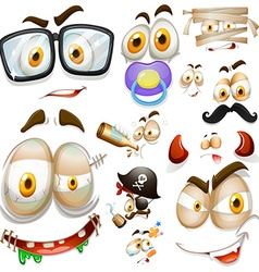 Different facianl expressions on white background vector