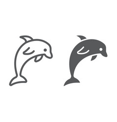 Dolphin line and glyph icon animal vector