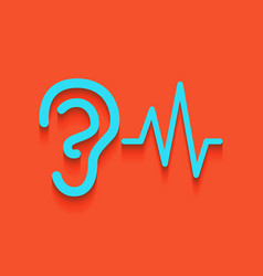 Ear hearing sound sign whitish icon on vector