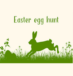 easter green background with rabbit vector image