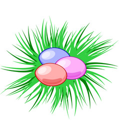 eggs in a nest easter christian symbol vector image