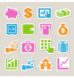 Finance money sticker icon set vector image