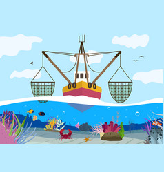 Fishing flat background vector