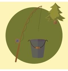 fishing rod and bucket fishing flat vector image