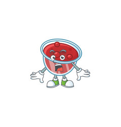 Fresh canberries sauce with surprised cartoon vector