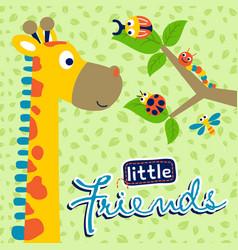 Funny giraffe and little friends vector