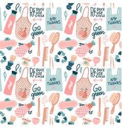 go green pattern hand drawn zero waste design vector image