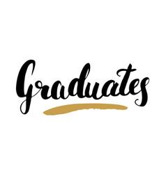graduation lettering handwritten sign hand drawn vector image