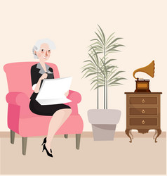 grandma reading newspaper sitting in sofa while vector image