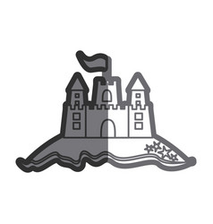 Gray thick contour of beach and sandcastle with vector