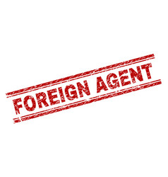 Grunge textured foreign agent stamp seal vector