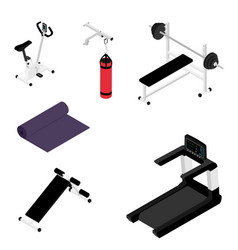 gym bench with barbell gym bike treadmill and vector image
