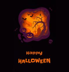 halloween banner pumpkin full moon graveyard and vector image