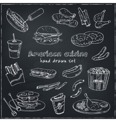 Hand drawn set of american cuisine hot dog vector