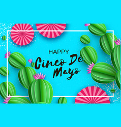 Happy cinco de mayo greeting card pink paper fan vector