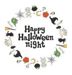 happy halloween night halloween frame handdrawn vector image