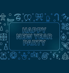 happy new year party blue outline vector image