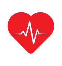 heartbeat line in heart vector image