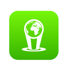 hologram globe icon digital green vector image