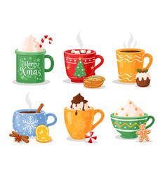hot christmas winter drinks cups with coffee tea vector image