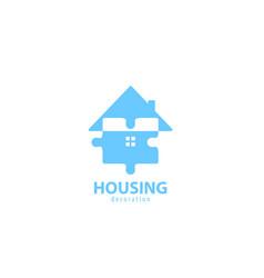 Housing puzzle logo vector