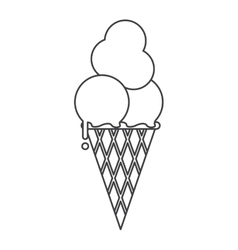 ice cream cone sweet delicious thin line vector image