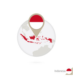Indonesia map and flag in circle map vector