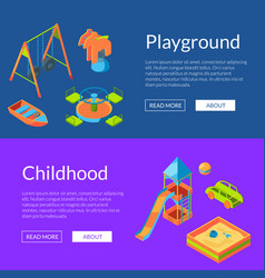 isometric playground web banners vector image