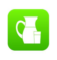 jug of milk icon digital green vector image