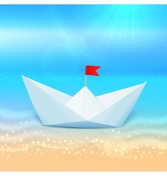 Little paper boat in a blue sea vector image