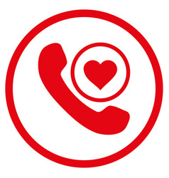Love phone call rounded icon vector