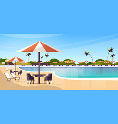 Luxury hotel swimming pool resort with umbrellas vector