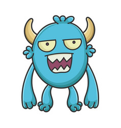 Mad angry cartoon furry creature monster vector