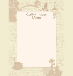 menu for coffee house with cup vase and lantern vector image