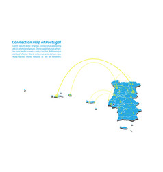 Modern of portugal map connections network design vector