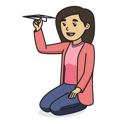 mom character holding paper plane while sitting vector image