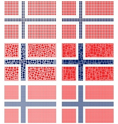 Mosaic Norway flag set vector