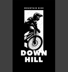 mountain bike downhill banner t-shirt print vector image
