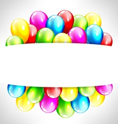 multicolored inflatable balloons with frame on vector image