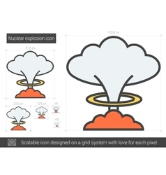 Nuclear explosion line icon vector